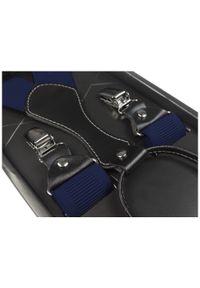 Modini - Granatowe klasyczne szelki męskie SZ4. Kolor: niebieski. Materiał: skóra, guma