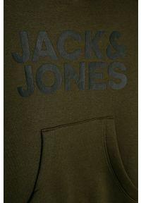 Szara bluza Jack & Jones z nadrukiem, z kapturem, na co dzień, casualowa