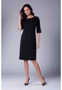 Czarna sukienka wizytowa Nommo casualowa, prosta, midi