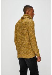 Żółty sweter medicine casualowy, z okrągłym kołnierzem