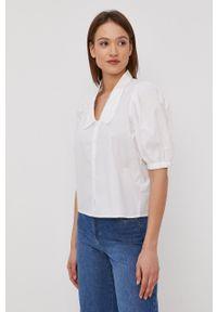 only - Only - Koszula bawełniana. Okazja: na co dzień. Kolor: biały. Materiał: bawełna. Długość rękawa: krótki rękaw. Długość: krótkie. Wzór: gładki. Styl: casual