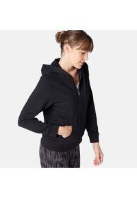 NYAMBA - Bluza na zamek z kapturem fitness. Typ kołnierza: kaptur. Kolor: czarny. Materiał: materiał, bawełna, poliester. Sport: fitness