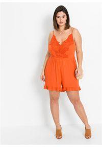 Kombinezon z koronką bonprix mandarynkowy. Kolor: pomarańczowy. Materiał: koronka. Wzór: koronka