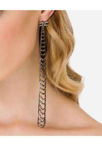 Elisabetta Franchi - ELISABETTA FRANCHI - Długie kolczyki z logo i cyrkoniami. Materiał: złote, srebrne. Kolor: srebrny. Wzór: aplikacja. Kamień szlachetny: cyrkonia