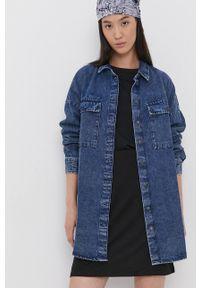 Noisy may - Noisy May - Koszula bawełniana jeansowa. Kolor: niebieski. Materiał: bawełna, jeans. Długość rękawa: długi rękaw. Długość: długie