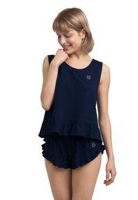 MOE - Bawełniana Koszulka do Spania - Granatowa. Kolor: niebieski. Materiał: bawełna