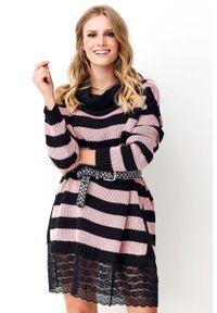 Sweter oversize Makadamia długi, w koronkowe wzory