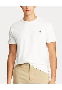 Ralph Lauren - RALPH LAUREN - Biały t-shirt z logo. Typ kołnierza: polo. Kolor: biały. Materiał: bawełna, dresówka. Wzór: haft, aplikacja. Styl: klasyczny