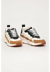 Złote buty sportowe Pepe Jeans z cholewką, na sznurówki, z okrągłym noskiem