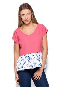 Katrus - Różowa Bluzka z Wzorzystą Falbanką. Kolor: różowy