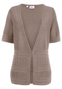 Brązowy sweter bonprix w ażurowe wzory