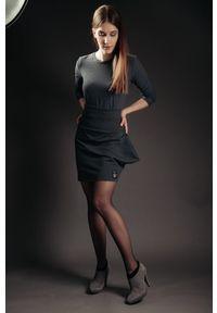 Szara spódnica Hultaj Polski w kolorowe wzory, krótka