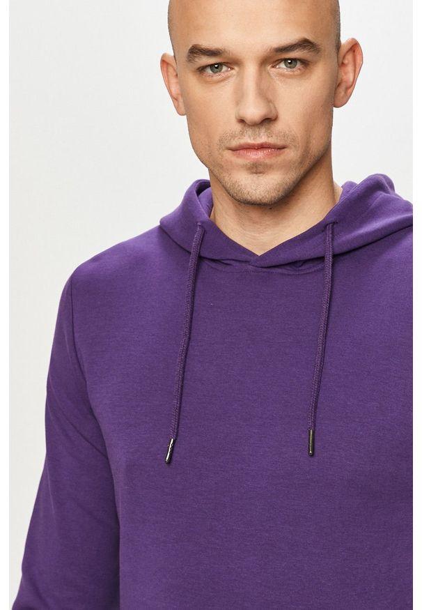 Jack & Jones - Bluza. Typ kołnierza: kaptur. Kolor: fioletowy. Materiał: dzianina, bawełna, poliester. Wzór: gładki