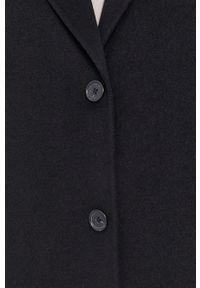 Marc O'Polo - Płaszcz. Typ kołnierza: polo. Kolor: czarny. Materiał: tkanina, materiał, wełna. Wzór: gładki