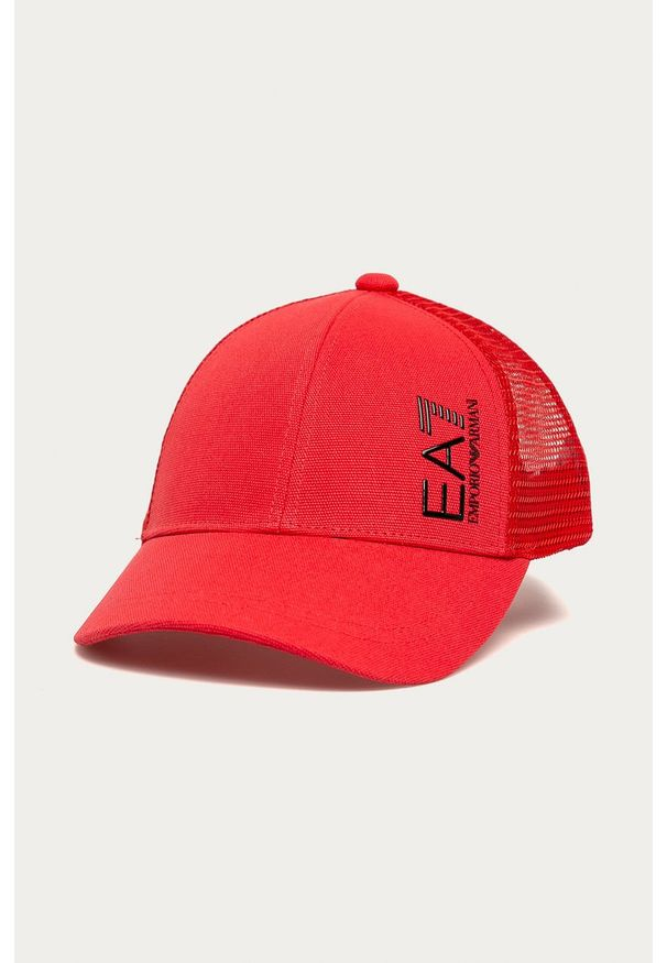 Czerwona czapka z daszkiem EA7 Emporio Armani z nadrukiem