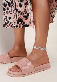Renee - Różowe Klapki Arirea. Nosek buta: okrągły. Kolor: różowy