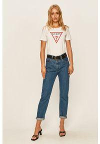 Biała bluzka Guess Jeans z nadrukiem, na co dzień, casualowa, z okrągłym kołnierzem