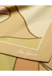 Luisa Spagnoli - LUISA SPAGNOLI - Beżowa apaszka Riso z jedwabiu. Kolor: brązowy. Materiał: jedwab. Wzór: aplikacja