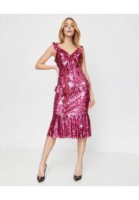 NEEDLE & THREAD - Sukienka z cekinami Scarlett. Kolor: czerwony. Materiał: tiul. Długość rękawa: na ramiączkach. Wzór: aplikacja. Typ sukienki: rozkloszowane, dopasowane. Długość: midi