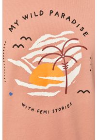 Różowa bluza Femi Stories casualowa, z nadrukiem, długa, bez kaptura