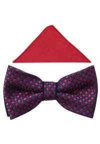 Adam Collection - Granatowa mucha w czerwone kwadraty A339. Kolor: niebieski, czerwony, wielokolorowy. Materiał: bawełna, tkanina, poliester. Styl: elegancki