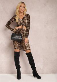 Renee - Czarno-Beżowa Bluzka Ianthinna. Kolor: czarny. Materiał: jeans, wiskoza, dzianina, skóra. Długość rękawa: długi rękaw. Długość: długie