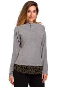 MOE - Szary Uroczy sweter z Ozdobnymi Guzikami. Kolor: szary. Materiał: wiskoza
