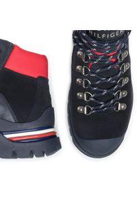 Niebieskie buty trekkingowe TOMMY HILFIGER klasyczne, z cholewką