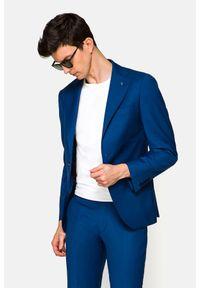 Lancerto - Garnitur Niebieski Utah. Kolor: niebieski. Materiał: poliester, wiskoza, tkanina, wełna