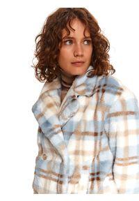 TOP SECRET - Krótka kurtka z kołnierzem. Kolor: niebieski. Materiał: tkanina, futro. Długość rękawa: długi rękaw. Długość: krótkie. Sezon: zima. Styl: klasyczny