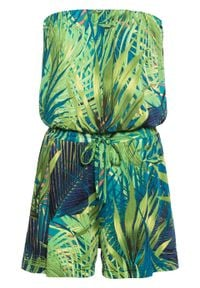 Krótki kombinezon z dekoltem bandeau bonprix zielony w roślinny wzór. Kolor: zielony. Długość: krótkie. Wzór: nadruk. Styl: elegancki