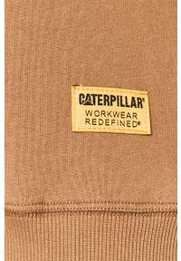 Beżowa bluza nierozpinana CATerpillar z aplikacjami, casualowa, raglanowy rękaw, bez kaptura