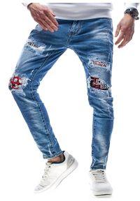 Niebieskie spodnie Recea w kolorowe wzory, klasyczne