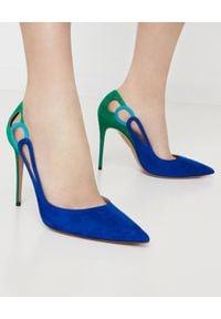 AQUAZZURA - Niebieskie szpilki Fenix Pump. Kolor: zielony. Materiał: zamsz. Obcas: na szpilce. Styl: klasyczny. Wysokość obcasa: średni
