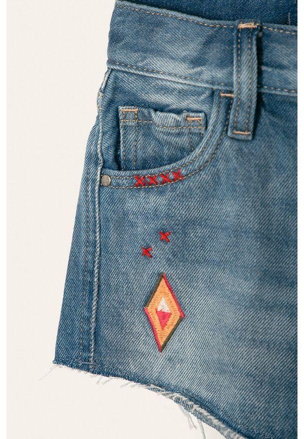 Niebieskie spodenki Pepe Jeans na co dzień, z haftami, z podwyższonym stanem