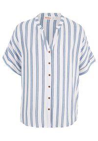 Bluzka w paski, krótki rękaw bonprix niebieski w paski. Kolor: niebieski. Długość rękawa: krótki rękaw. Długość: krótkie. Wzór: paski