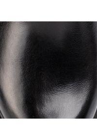 Czarny kozaki Caprice z cholewką, z aplikacjami
