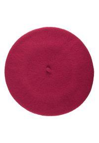 Wittchen - Damski beret wełniany z pomponami. Kolor: fioletowy. Materiał: wełna. Wzór: aplikacja. Sezon: zima. Styl: klasyczny