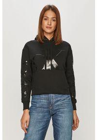 Czarna bluza Calvin Klein Jeans z nadrukiem, długa, casualowa