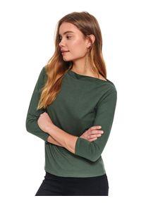 Zielona bluzka TOP SECRET długa, z dekoltem w łódkę, na wiosnę, w kolorowe wzory