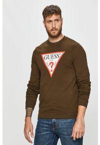 Zielona bluza nierozpinana Guess Jeans z nadrukiem, bez kaptura, na co dzień, casualowa