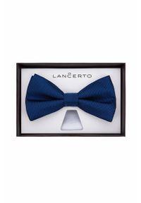 Niebieska muszka Lancerto klasyczna, w kolorowe wzory
