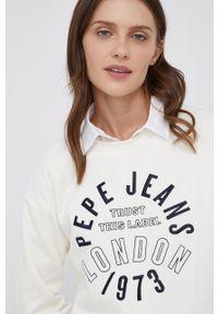 Pepe Jeans - Bluza Bertie. Kolor: beżowy. Materiał: dzianina. Długość rękawa: długi rękaw. Długość: długie. Wzór: aplikacja