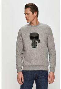 Szara bluza nierozpinana Karl Lagerfeld z kapturem, z aplikacjami
