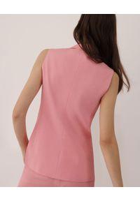 Marella - MARELLA - Różowa kamizelka Calcut. Kolor: wielokolorowy, różowy, fioletowy. Materiał: len, bawełna. Sezon: wiosna