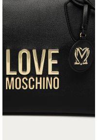 Czarna shopperka Love Moschino z aplikacjami, skórzana