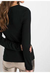 Czarna bluzka bonprix długa, z długim rękawem
