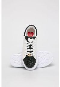 Białe buty sportowe Love Moschino z cholewką, na sznurówki, z okrągłym noskiem