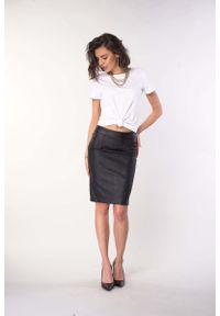 Nommo - Czarna Ołówkowa Spódnica z Imitacji Skóry. Kolor: czarny. Materiał: skóra