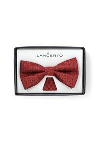 Czerwona muszka Lancerto w kropki, elegancka, na ślub cywilny